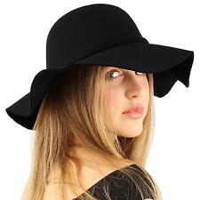 """Winter Soft Faux Wool Bow Hatband Floppy Wide Brim 3-1/4"""" Dress Church Hat Black"""