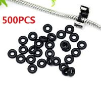 500pc Wholesale Lots Black Rubber Rings Fit European Stopper Clip Beads 6mm Dia.