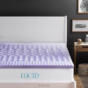 2 in. Twin Zoned Lavender Memory Foam Mattress Topper by Lucid