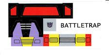 Transformers Generations 1 , G1 DECEPTICON BATTLETRAP Repro Etiquetas /