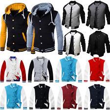 Mens Varsity College University Letterman Baseball Jacket Hooded Coat Outwear UK