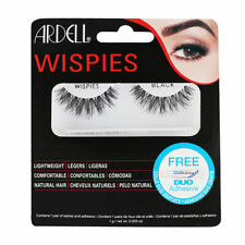 ARDELL Wispies FALSE EYELASHES Black + ADHESIVE * Lightweight Natural Hair * NEW