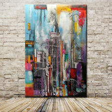 Mintura Art Hand Painted Modern Abstract Oil Paintings On Canvas Tall Building