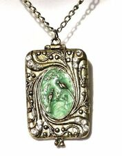 VICTORIAN STYLE ENAMEL BIRD LOCKET square cameo green antiqued brass necklace X5