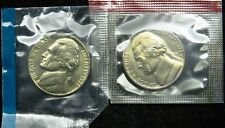 1975 P and D Set of Uncirculated BU Jefferson Nickel Mint Cello (B03)
