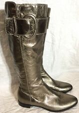 SERGIO ROSSI Leather Metallic Pewter Knee High Flat Boots  37.5 (6.5-7) #9801