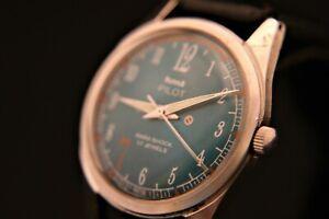 Men's HMT repainted green dial serviced 1970's Pilot Parashock 17J  wristwatch