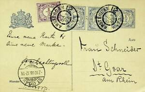 NEDERLAND 1908 NUMERALS PAIR+1v UPRATED ON 1½c POSTAL CARD TO GERMANY