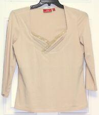 Oscar de la Renta Long Sleeve Shirt Top pullover gold color size L stretch comfy