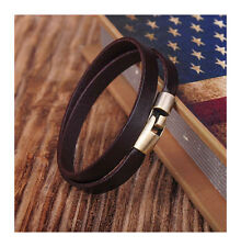 G334 Brown Alloy Clasp Cool Double Wrap Men's Leather Bracelet Wristband Cuff