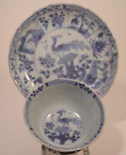 Chinese Ca Mau Blue And White Pheasant Tea Bowl And Saucer c 1725