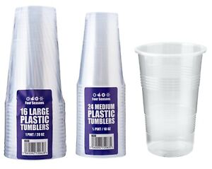 Clear Strong Plastic Pint / Half Pint Disposable Beer Glasses Cups Tumblers