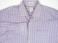 PETER MILLAR Button Front Long Sleeve Dress Shirt Purple Plaid Mens Size XL