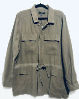 Max Studio Soft Twill Utility Jacket Drawstring Waist Olive Green Womens Size XL