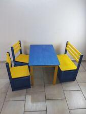 Kinder Sitzgruppe Holzbank Tisch Stuhl Spielzeugkiste Fichte - farbig - lasiert