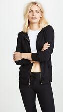Wildfox basic zip hoodie, jet black, slouchy, jersey sweatshirt, hood, s. s