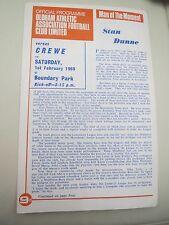Oldham V Crewe   1968/9