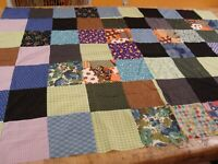 "Vtg Primitive Fabric Handmade QUILT TOP Patchwork 52"" x 74"" Ready 2 Quilt"