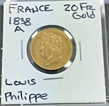 FRANCE 20 FRANCS GOLD COIN 1838-A LOUIS PHILIPPE