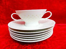7 beautiful service parts__Rosenthal__White with Gold__1 Soup bowl und 6 Saucers