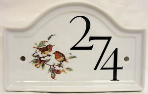Robin Scene House Door Number Plaque  Ceramic House Sign Any Number