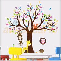 Jungle Animal Owls Monkey Tree Wall Stickers Nursery Decor for Kids Baby Room