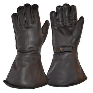 Goldtop Merino Wool Lined Black Leather Motorcycle & Aviator Despatch Gauntlets