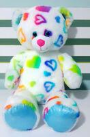 Build-A-Bear Multicoloured Teddy Bear Plush Toy White w/ Hearts 41cm Tall!