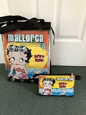 Tote Bag - Lovely Betty Boop Mallorca Holiday Bag and Cosmetic Case - Black -New