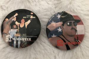 2 WWF Wrestling Superstar vintage 1980'S buttons Sgt Slaughter Patriotic