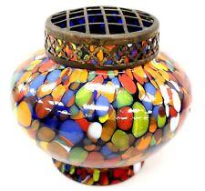Vintage Unmarked MULTICOLOURED Art Glass FLOWER FROG VASE/ Pot - BB5
