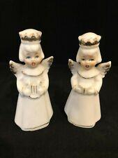 Vintage Ceramic Pair White Gold Christmas Angels Choir Singer Harp Player Japan