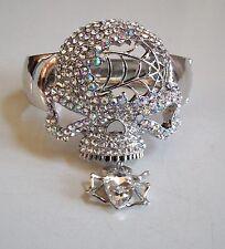 Fashion Silver Finish Crystal Hip Hop Bling Skull With Spider Bangle Bracelet