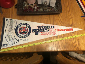 Vintage 1984 Detroit Tigers World Series Champions Pennant 1980s