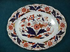"""Booths Dovedale A8044 Rust and Blue Imari 13 3/4"""" Oval Serving Platter"""