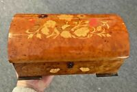 "Vintage Inlaid Wood Italian Reuge Domed-Top Swiss Music Box plays ""Always"""