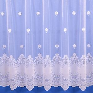 Blenheim Scalloped Net Curtain - Finished In White - Various Widths And Drops