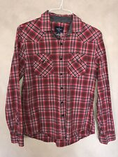 American Eagle AE Mens Button Down Shirt Red Western Snap Front Medium M EUC
