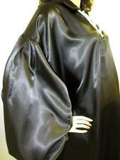 Plus Size Satin! Special Cut Shiny Black Satin Balloon Shirt Gown
