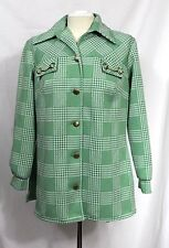 Vintage 70's Sears - 16 (M/L) - Green Plaid Gold Horse Bit Polyester Jacket