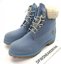 "Timberland x Just Don Premium 6"" Men's 9.5 Denim Boots WP Wool Blue Shoes New"
