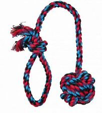 Denta Fun Playing Rope Dog Toy Throwing Rope with Hand Loop & Ball 50cm