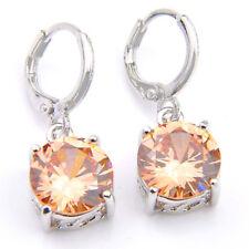 Engagement Round Natural Honey Morganite Gemstone Silver Danlge Hook Earrings