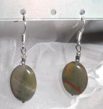 PICASSO JASPER CRYSTAL GEMSTONE EARRINGS, GREEN, DROP, PIERCED, NEW, AUSTRALIAN