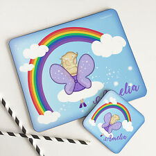 Personalised Kids Rainbow Wooden Glossy Fairy Placemat & Coaster Set