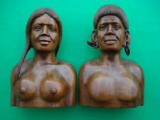 Vintage Hand Carved Wood Busts Man & Woman Philippine Art Bookends