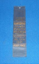 Vintage 1931 Gloucester County New Jersey First Prize County Fair Ribbon