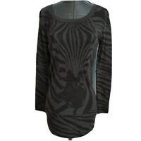 Rue 21 Tunic Shirt Top Size S Black Gray Zebra Animal Stripe Long sleeve Jrs