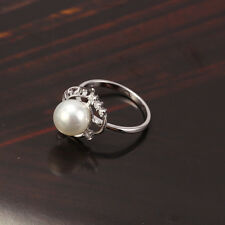18k White/Rhodium Colour Shell Bead Pearl Women's Ring  - Size 5US
