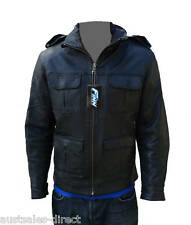 Mens Black Leather Jacket Soft Supple Sheep Urban City Retro Casual Finn Moto